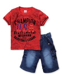 Hopsy Red Champion USA Print Tee With Denim Shorts - Red