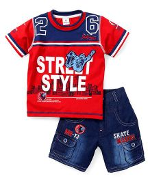 Hopsy Street Style Print T-Shirt and Shorts - Red