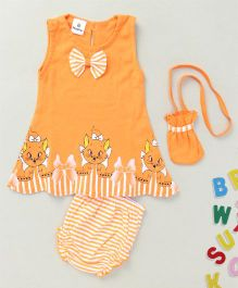 Hopsy Cute Sleeveless Dress With Pouch - Orange
