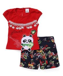 Hopsy Top With Floral Shorts - Red