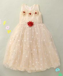 Hopsy Attractive Embellished Party Dress - Cream