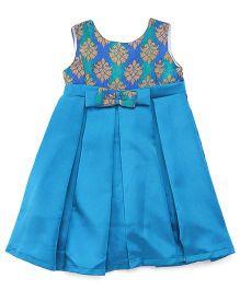 The KidShop Ethinc Indian Motif Print Dress - Turquoise Blue