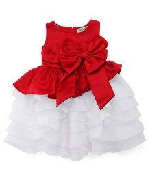 The KidShop Satin Piano Pleated Multi Layered Dress With Bow - Red