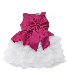 The KidShop Satin Piano Pleated Multi Layered Dress With Bow - Wine