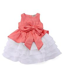 The KidShop Satin Piano Pleated Multi Layered Dress With Bow - Pink