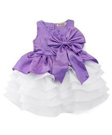 The KidShop Satin Piano Pleated Multi Layered Dress With Bow - Deep Purple & White