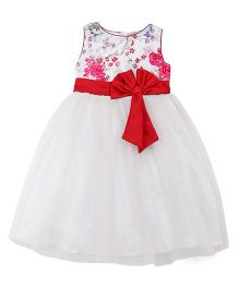 The KidShop Printed Flowers Tulle Dress - White & Red