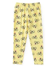 Babyhug Full Length Leggings Bicycle Print - Yellow