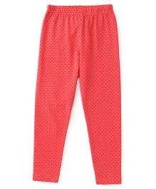 Babyhug Full Length Dotted Leggings - Peach