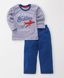 Babyhug Full Sleeves T-Shirt And Lounge Pant Bedtime Print - Grey & Blue