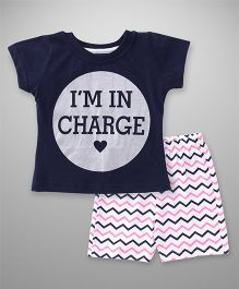 Babyhug Short Sleeves Top And Chevron Shorts Text Print - Navy White