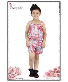 Rosy Bow Singlet Printed Jumpsuit - Pink