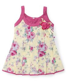 Rosy Bow Sleeveless Regular Neck Rose Printed Frock - Cream & Pink