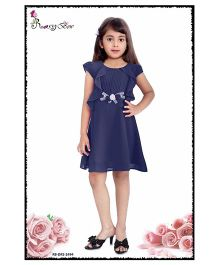 Rosy Bow Cap Sleeves Regular Neck Frock - Navy