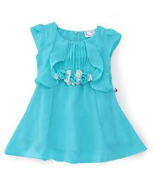 Rosy Bow Cap Sleeves Regular Neck Frock - Rama Green
