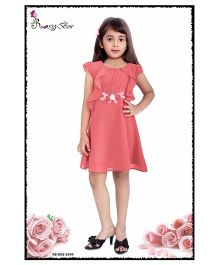 Rosy Bow Cap Sleeves Regular Neck Frock - Dark Peach