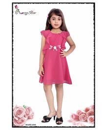 Rosy Bow Cap Sleeves Regular Neck Frock - Dark Pink