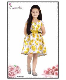 Rosy Bow Cap Sleeves Frock Floral Print & Applique - Yellow
