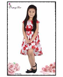 Rosy Bow Cap Sleeves Frock Floral Print & Applique - Red