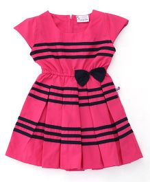 Rosy Bow Cap Sleeves Frock Stripes Print With Bow - Pink