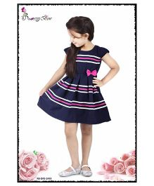 Rosy Bow Cap Sleeves Frock Stripes Print With Bow - Navy Blue