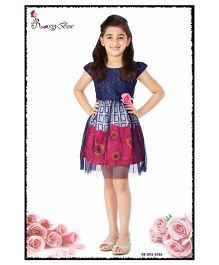 Rosy Bow Cap Sleeves Frock Floral Print & Motif - Navy Blue