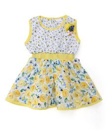 Rosy Bow Sleeveless Regular Neck Floral Printed Frock - Yellow