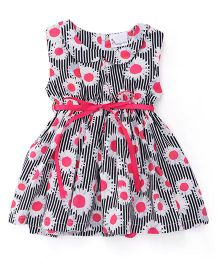 Rosy Bow Sleeveless Peter Pan Collar Frock With Sunflower Print - Pink & Black