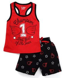 Fido Sleeveless Tee And Shorts Printed - Red Black