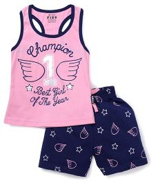 Fido Sleeveless Tee And Shorts Printed - Pink Navy