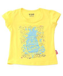 Fido Half Sleeves Top Hello Summer Print - Yellow