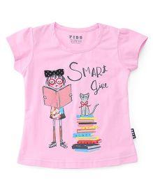 Fido Half Sleeves Top Smart Print - Pink