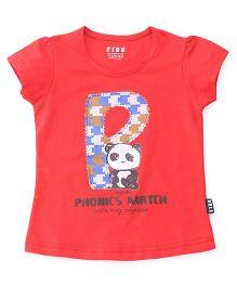 Fido Half Sleeves Top Panda Print - Red