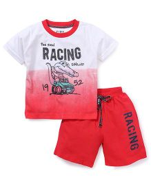 Fido Half Sleeves T-Shirt And Shorts Set Racing Print - Red White