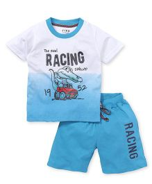 Fido Half Sleeves T-Shirt And Shorts Set Racing Print - Blue White
