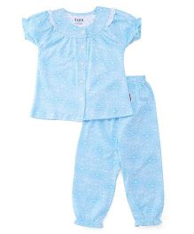 Fido Half Sleeves Night Suit Printed - Blue