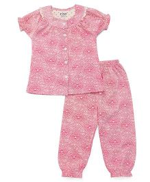 Fido Half Sleeves Night Suit Printed - Pink