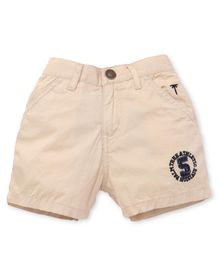 Gini & Jony Solid Color Shorts With Patch - Beige