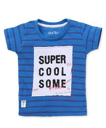 Gini & Jony Half Sleeves Striped T-Shirt With Super Cool Some Patch - Blue