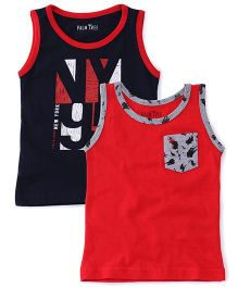 Gini & Jony Sleeveless Solid Color Vests Set Of 2 - Navy Red