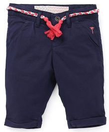 Palm Tree Three-Fourth Pants With Fabric Belt - Navy