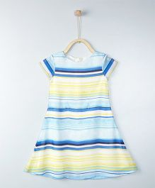 Gini & Jony Short Sleeves Striped Partywear Frock - Lemon & Blue
