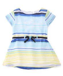 Gini & Jony Short Sleeves Striped Partywear Frock - Lemon & Blue