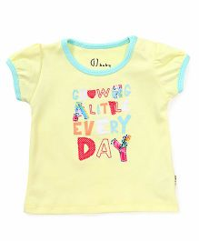 Gini & Jony Half Sleeves Tee With Alphabet Patches - Yellow