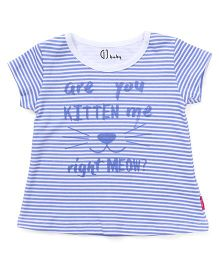Gini & Jony Half Sleeves Striped Tee With Text Print - Blue
