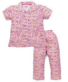 Fido Half Sleeves Night Suit Floral Print - Light Pink