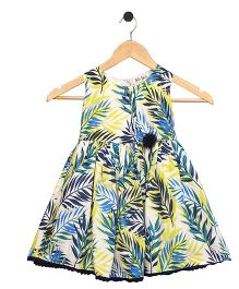 Bella Moda Leaf Printed Dress - Blue & Green