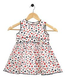 Bella Moda Hearts Printed Dress - White & Red