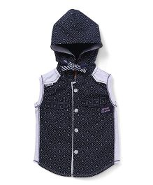 Little Kangaroos Sleeveless Hooded Printed Shirt - Navy