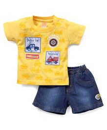 Little Kangaroos Half Sleeves Tee & Shorts - Golden Yellow